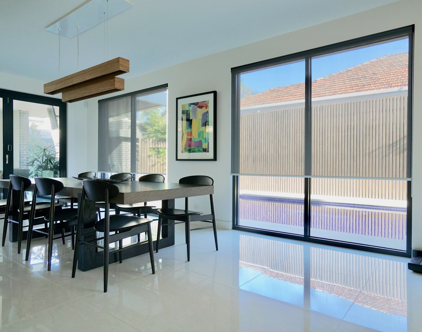 Roller Blinds in Dinning Room